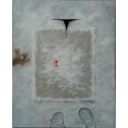 눈위에 캔버스, 그 위에 눈, 그리고 코피.